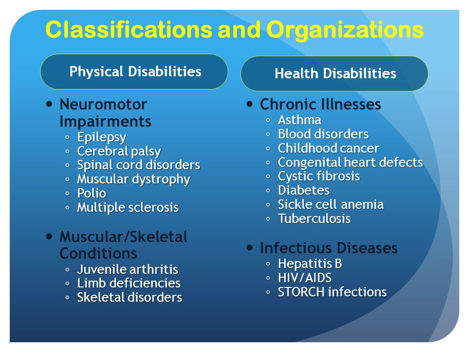 Classifications and Organizations Neuromotor Impairments ◦ Epilepsy ◦ Cerebral palsy ◦ Spinal cord disorders ◦ Muscular dystrophy ◦ Polio ◦ Multiple s