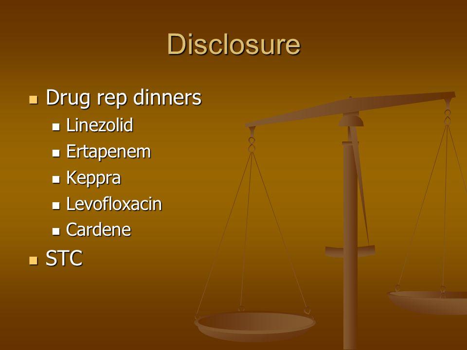 Disclosure Drug rep dinners Drug rep dinners Linezolid Linezolid Ertapenem Ertapenem Keppra Keppra Levofloxacin Levofloxacin Cardene Cardene STC STC