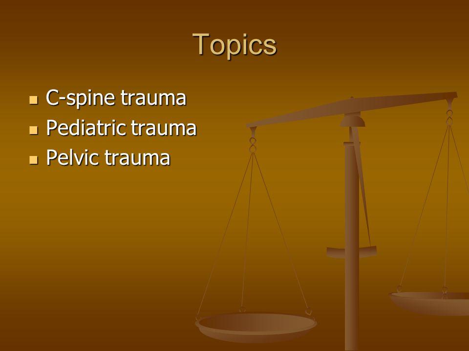 Topics C-spine trauma C-spine trauma Pediatric trauma Pediatric trauma Pelvic trauma Pelvic trauma