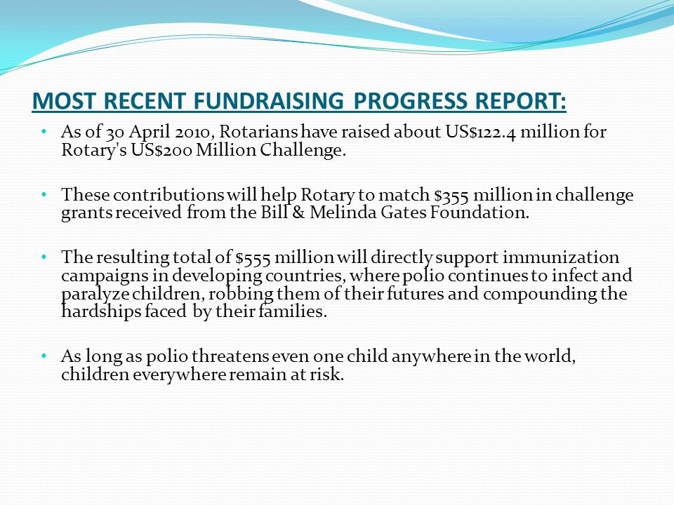 MOST RECENT FUNDRAISING PROGRESS REPORT: As of 30 April 2010, Rotarians have raised about US$122.4 million for Rotary s US$200 Million Challenge.
