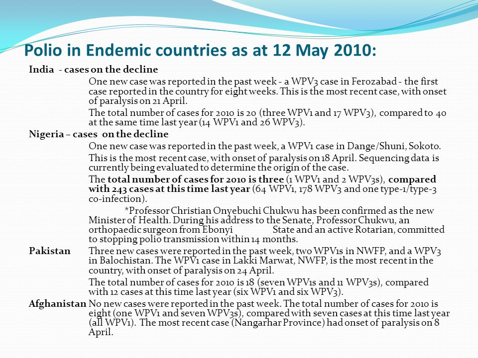 Polio in Endemic countries as at 12 May 2010: India - cases on the decline One new case was reported in the past week - a WPV3 case in Ferozabad - the first case reported in the country for eight weeks.