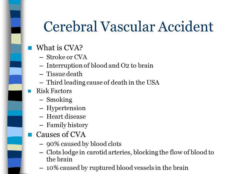 Cerebral Vascular Accident What is CVA? –Stroke or CVA –Interruption of blood and O2 to brain –Tissue death –Third leading cause of death in the USA R