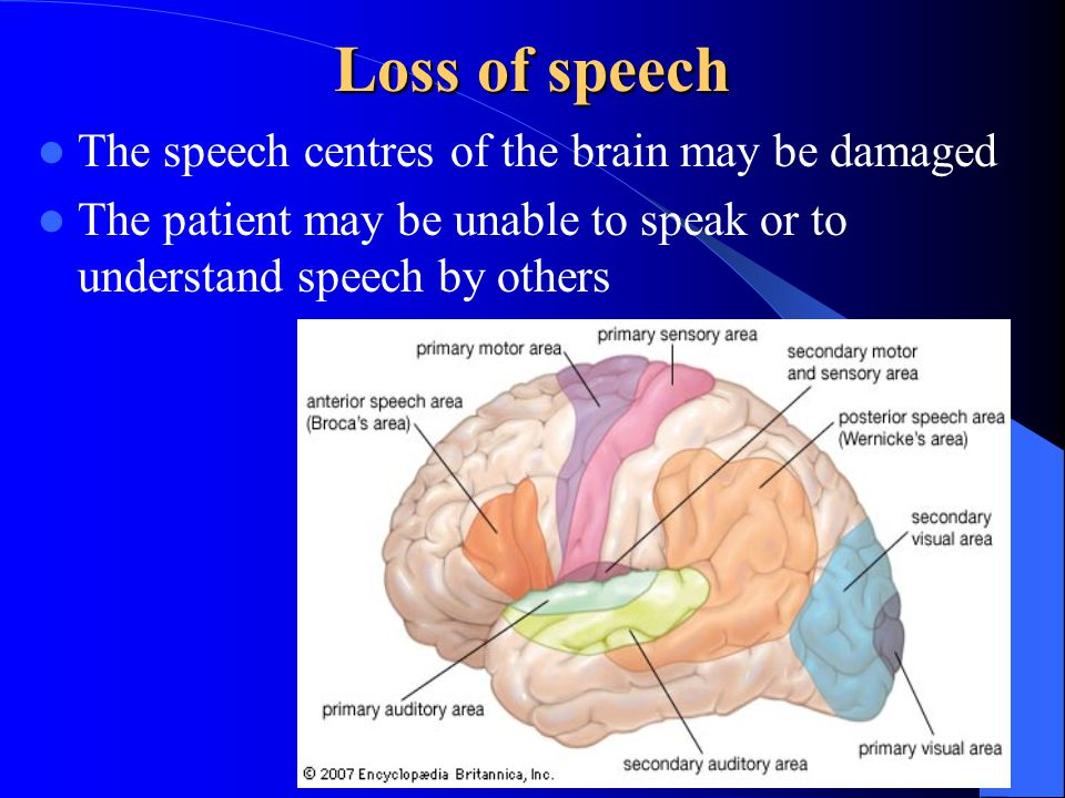 Loss of speech The speech centres of the brain may be damaged The patient may be unable to speak or to understand speech by others