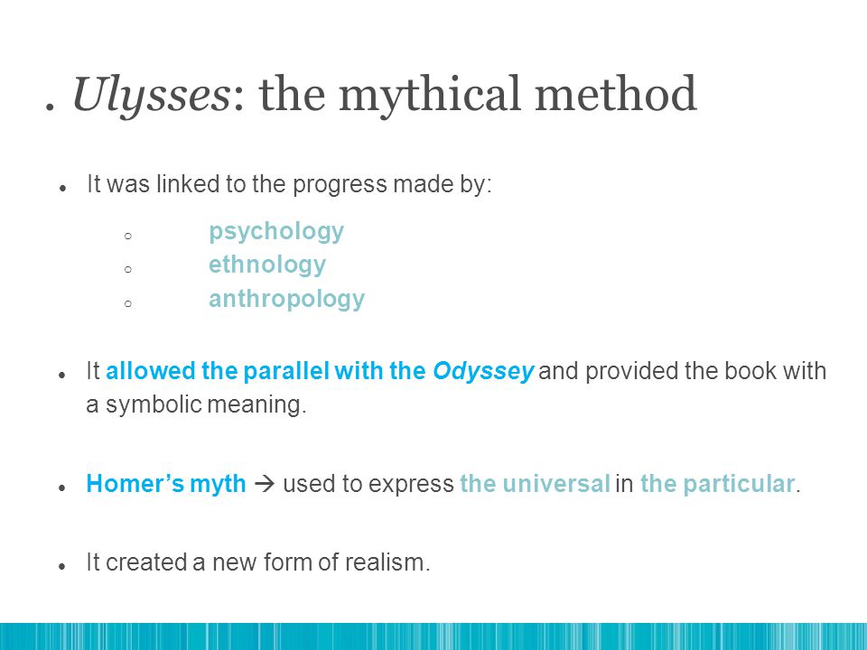 It allowed the parallel with the Odyssey and provided the book with a symbolic meaning. Homer's myth  used to express the universal in the particular