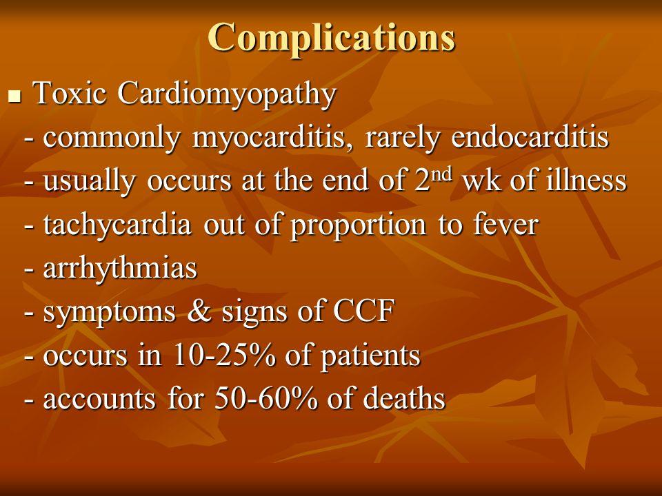 Complications Toxic Cardiomyopathy Toxic Cardiomyopathy - commonly myocarditis, rarely endocarditis - commonly myocarditis, rarely endocarditis - usua