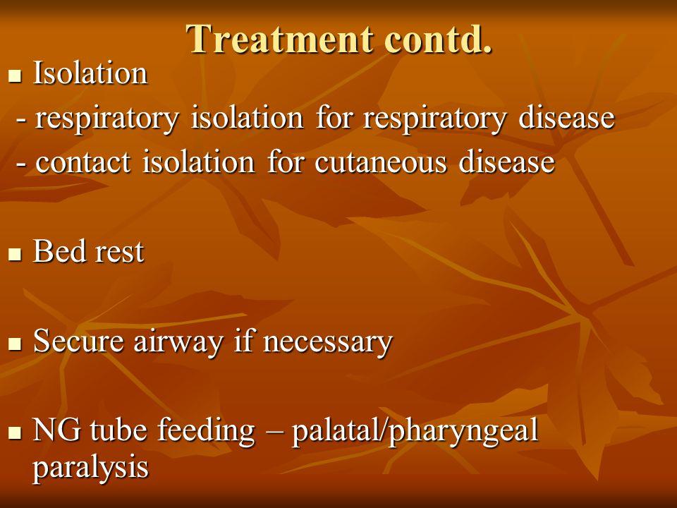 Treatment contd. Isolation Isolation - respiratory isolation for respiratory disease - respiratory isolation for respiratory disease - contact isolati