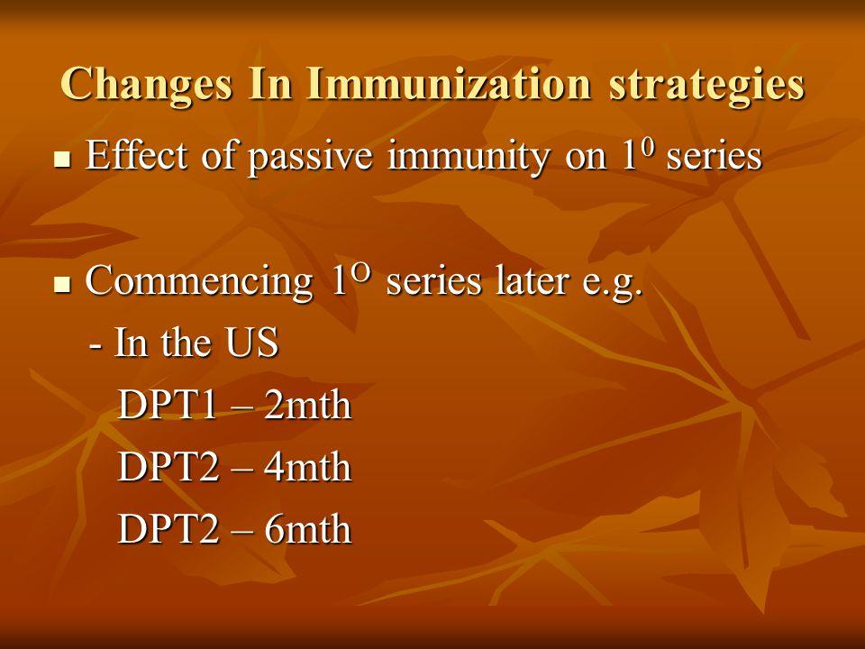 Changes In Immunization strategies Effect of passive immunity on 1 0 series Effect of passive immunity on 1 0 series Commencing 1 O series later e.g.