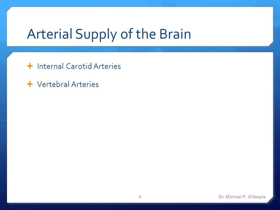 Branches of the Internal Carotid Arteries  Opthalmic artery  Posterior communicating artery  Anterior choroidal artery  Anterior cerebral artery  Middle cerebral artery Dr.