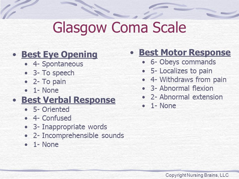 Glasgow Coma Scale Best Eye Opening 4- Spontaneous 3- To speech 2- To pain 1- None Best Verbal Response 5- Oriented 4- Confused 3- Inappropriate words 2- Incomprehensible sounds 1- None Best Motor Response 6- Obeys commands 5- Localizes to pain 4- Withdraws from pain 3- Abnormal flexion 2- Abnormal extension 1- None Copyright Nursing Brains, LLC