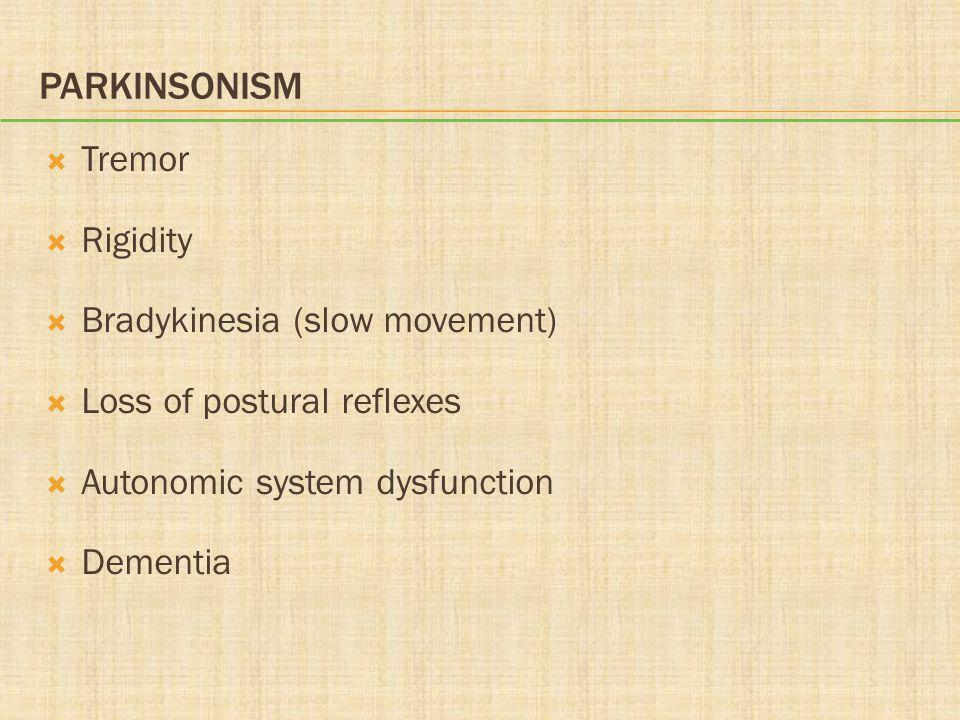 PARKINSONISM  Tremor  Rigidity  Bradykinesia (slow movement)  Loss of postural reflexes  Autonomic system dysfunction  Dementia