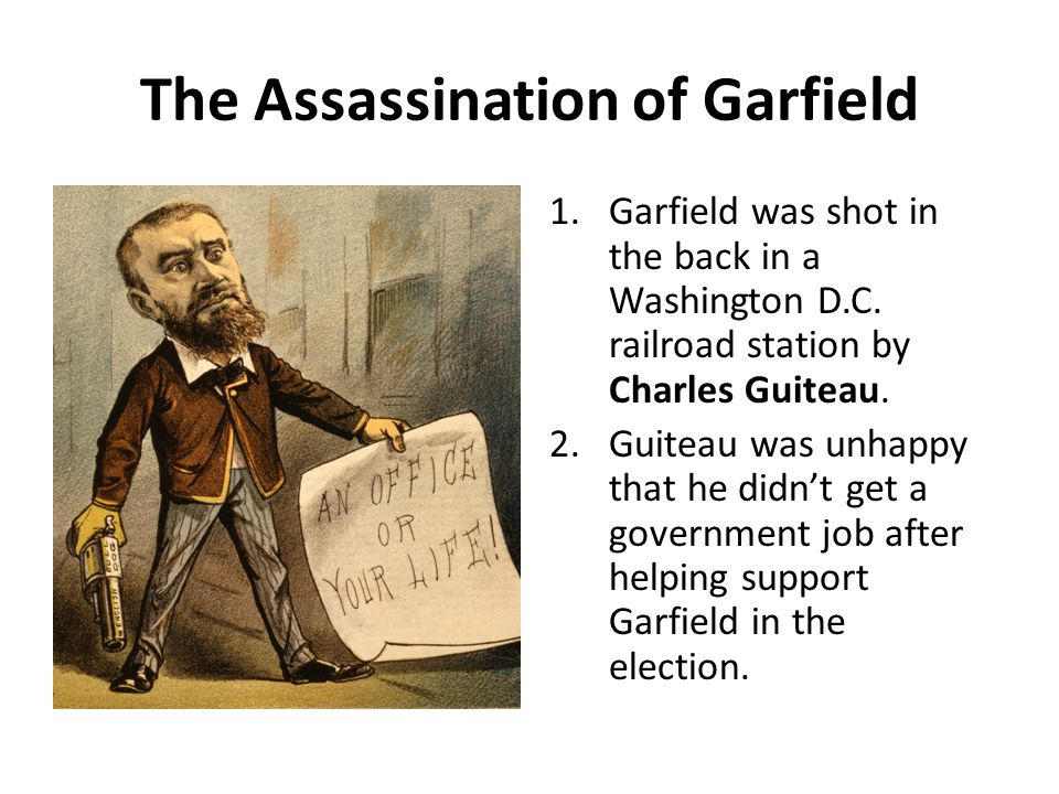 The Assassination of Garfield 1.Garfield was shot in the back in a Washington D.C.