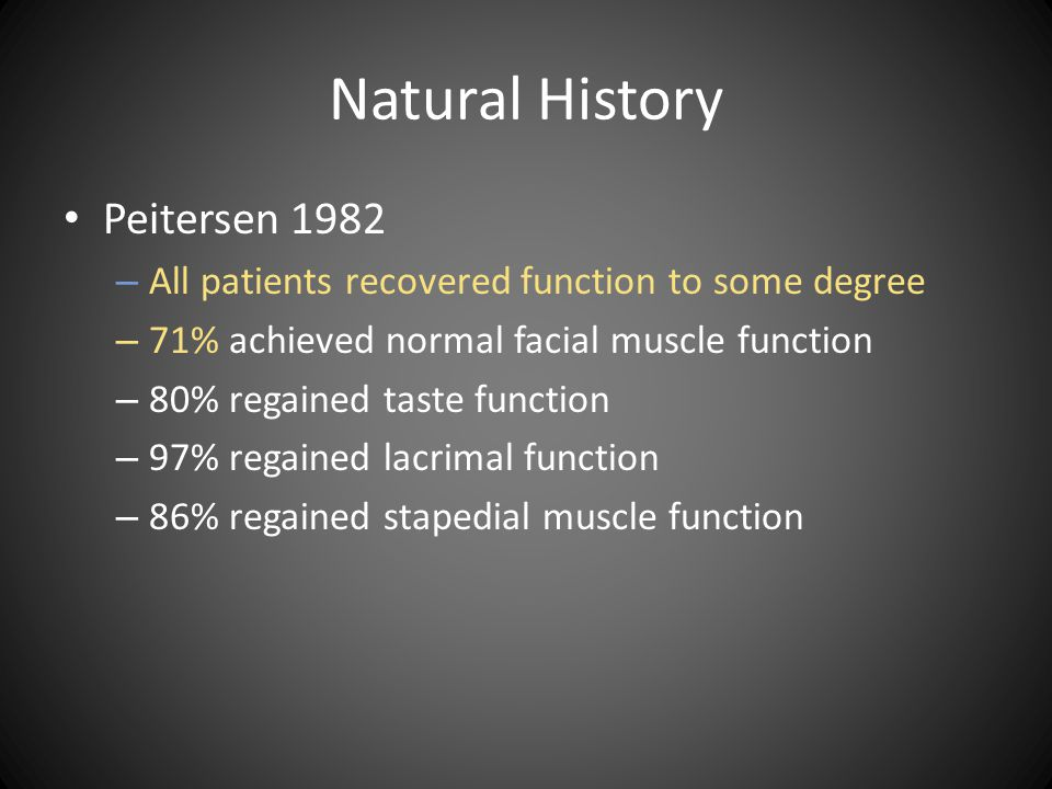 Natural History Peitersen 1982 – All patients recovered function to some degree – 71% achieved normal facial muscle function – 80% regained taste func