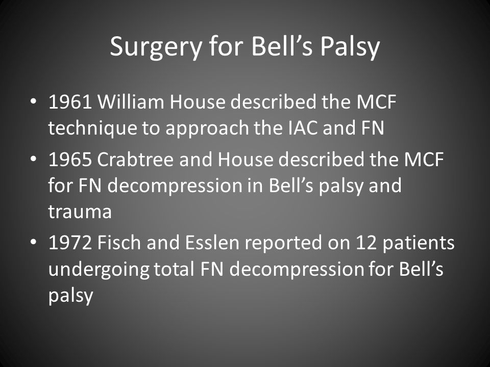 Surgery for Bell's Palsy 1961 William House described the MCF technique to approach the IAC and FN 1965 Crabtree and House described the MCF for FN de