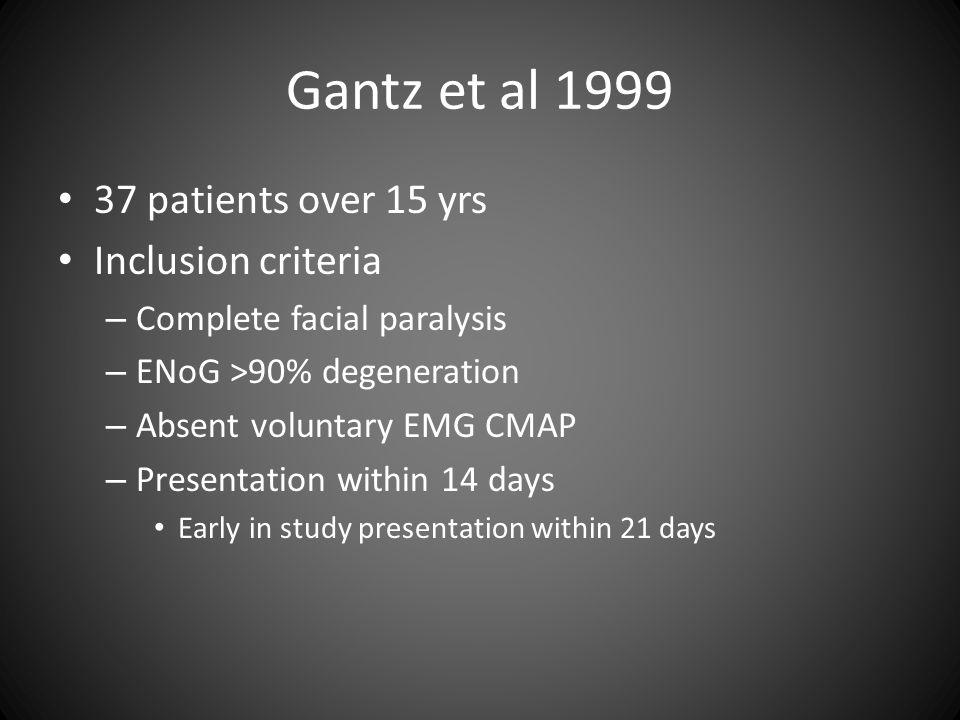 Gantz et al 1999 37 patients over 15 yrs Inclusion criteria – Complete facial paralysis – ENoG >90% degeneration – Absent voluntary EMG CMAP – Present