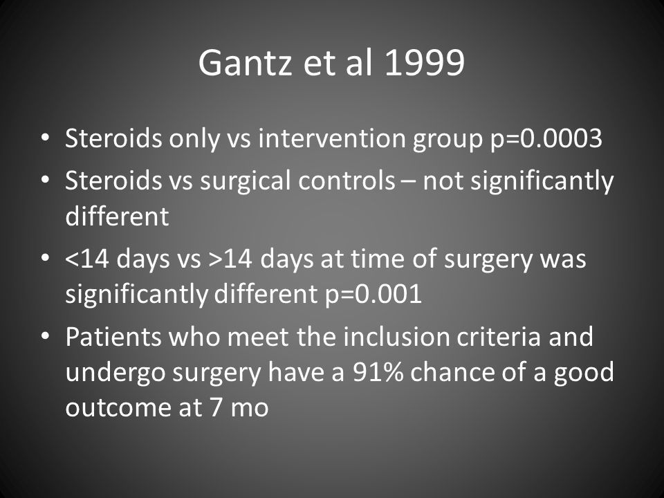 Steroids only vs intervention group p=0.0003 Steroids vs surgical controls – not significantly different 14 days at time of surgery was significantly