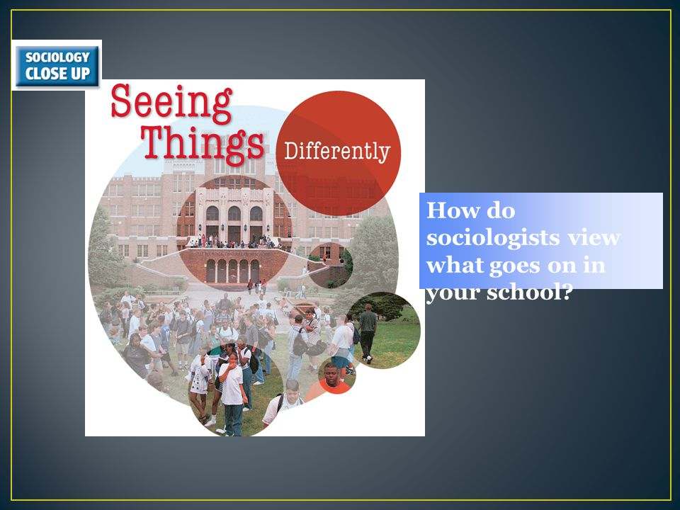 How do sociologists view what goes on in your school
