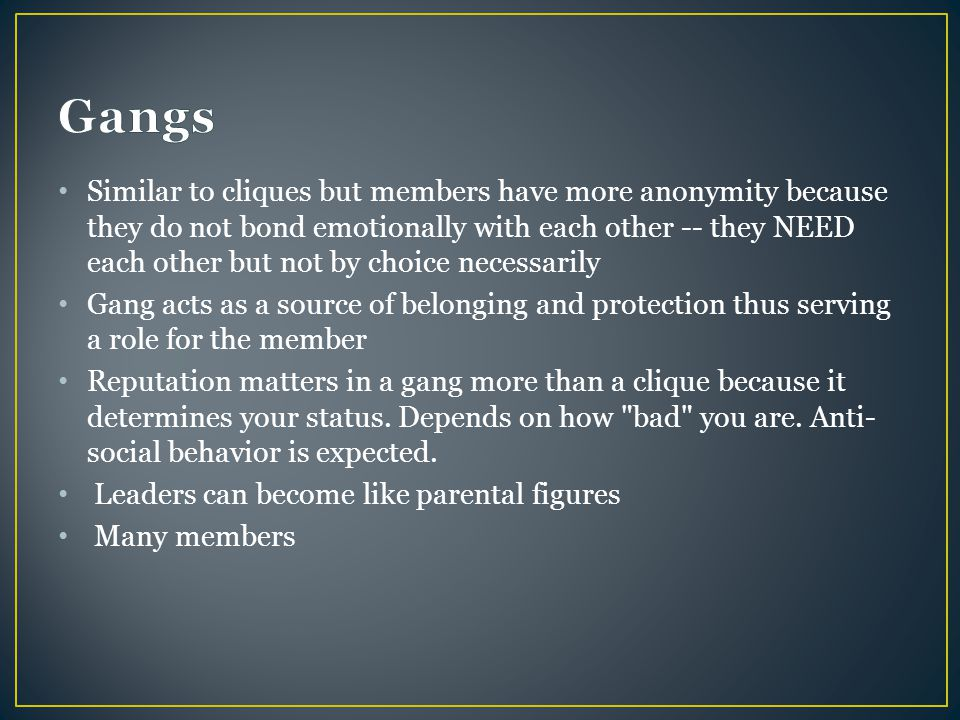 Similar to cliques but members have more anonymity because they do not bond emotionally with each other -- they NEED each other but not by choice necessarily Gang acts as a source of belonging and protection thus serving a role for the member Reputation matters in a gang more than a clique because it determines your status.