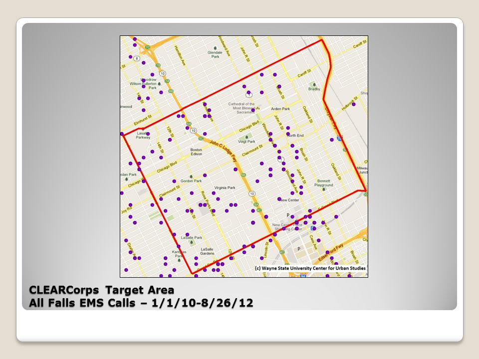 CLEARCorps Target Area All Falls EMS Calls – 1/1/10-8/26/12