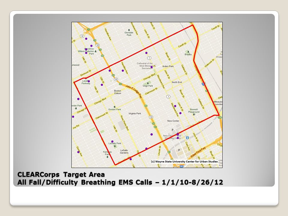 CLEARCorps Target Area All Fall/Difficulty Breathing EMS Calls – 1/1/10-8/26/12