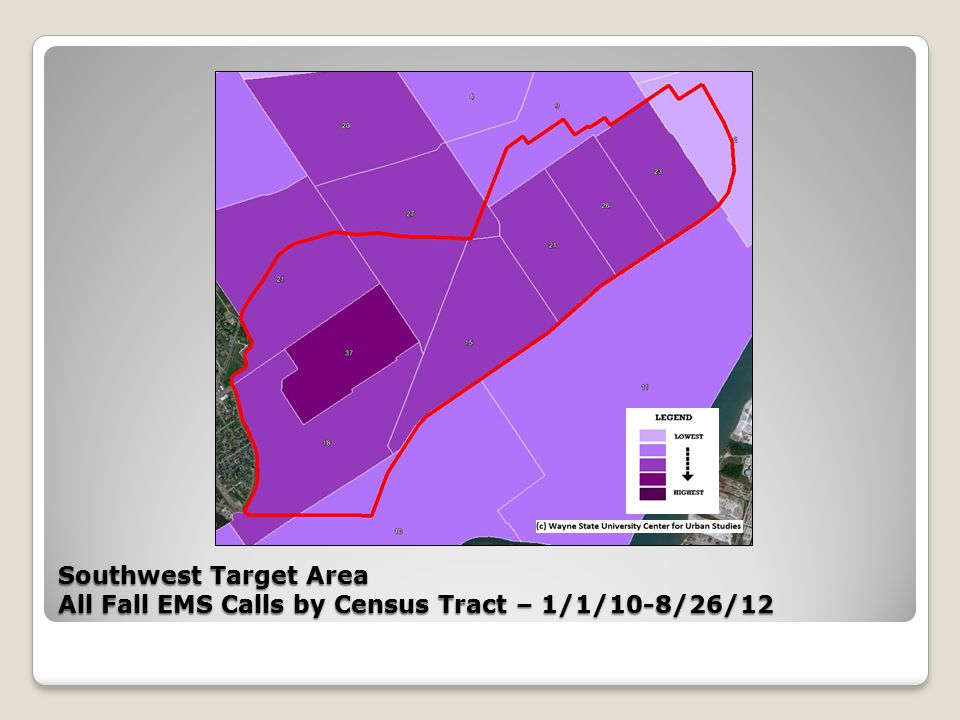 Southwest Target Area All Fall EMS Calls by Census Tract – 1/1/10-8/26/12