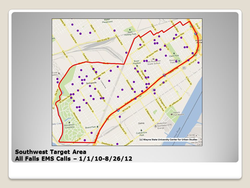 Southwest Target Area All Falls EMS Calls – 1/1/10-8/26/12