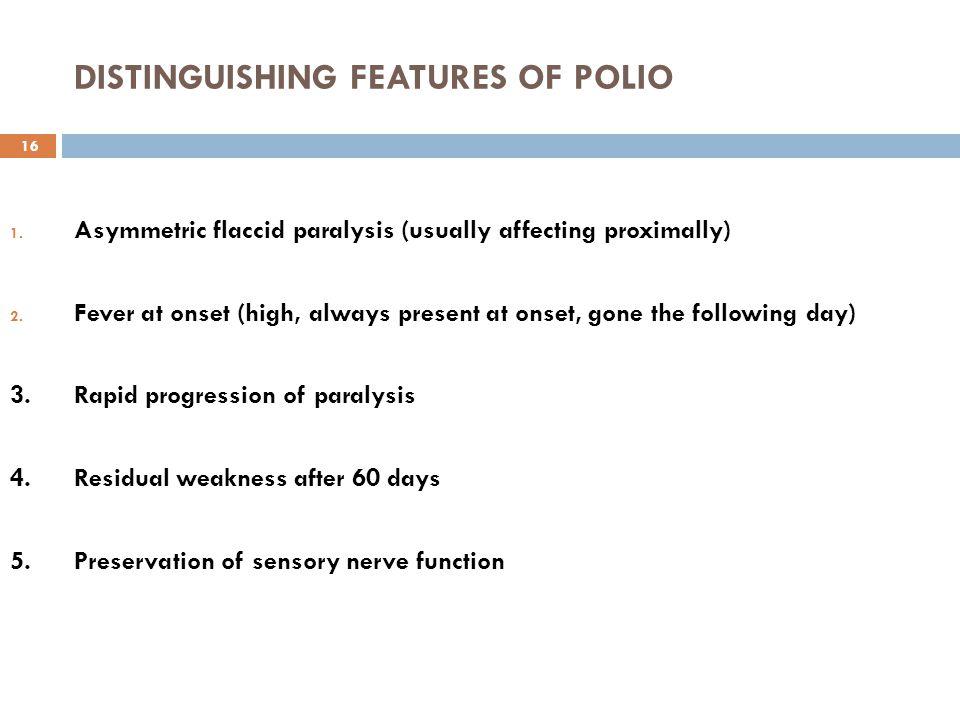 Age group distribution for poliomyelitis