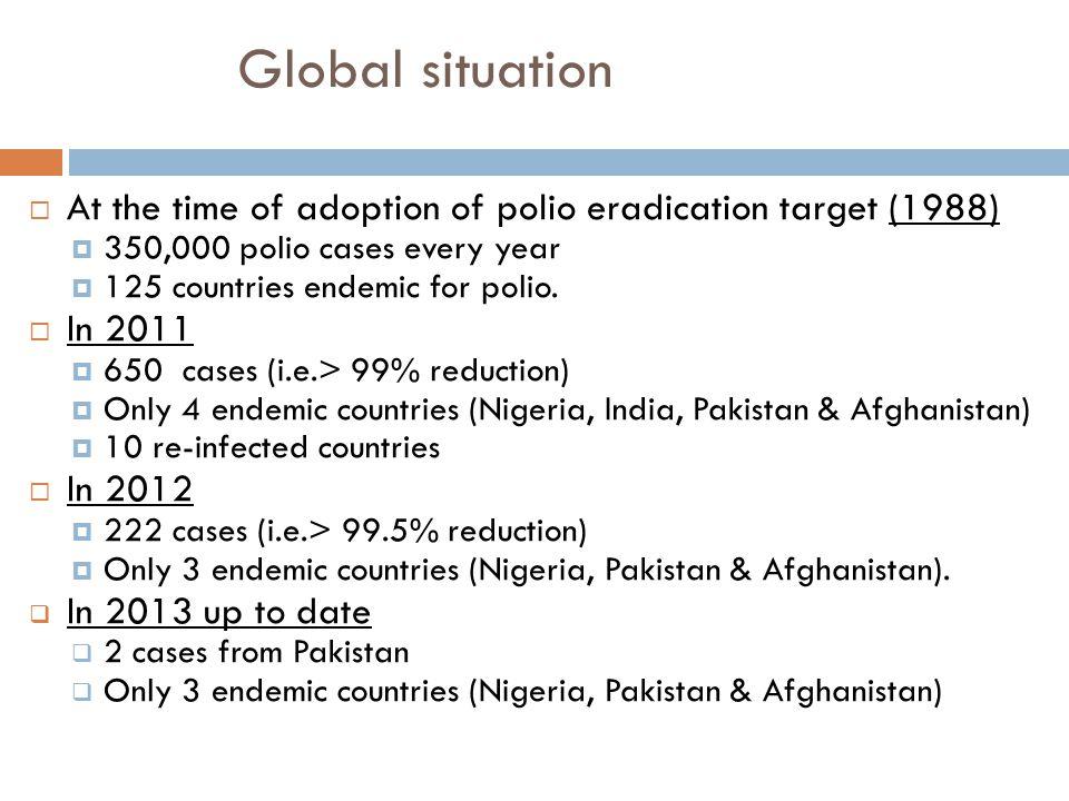 Polio Eradication WHO strategies: - routine immunization -national immunization days -surveillance of acute flaccid paralysis -mopping up of immunization