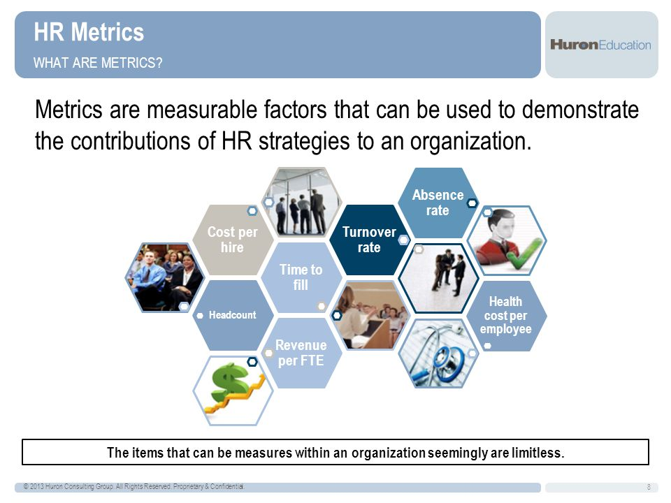 HR Metrics WHY ARE METRICS IMPORTANT.9 © 2013 Huron Consulting Group.