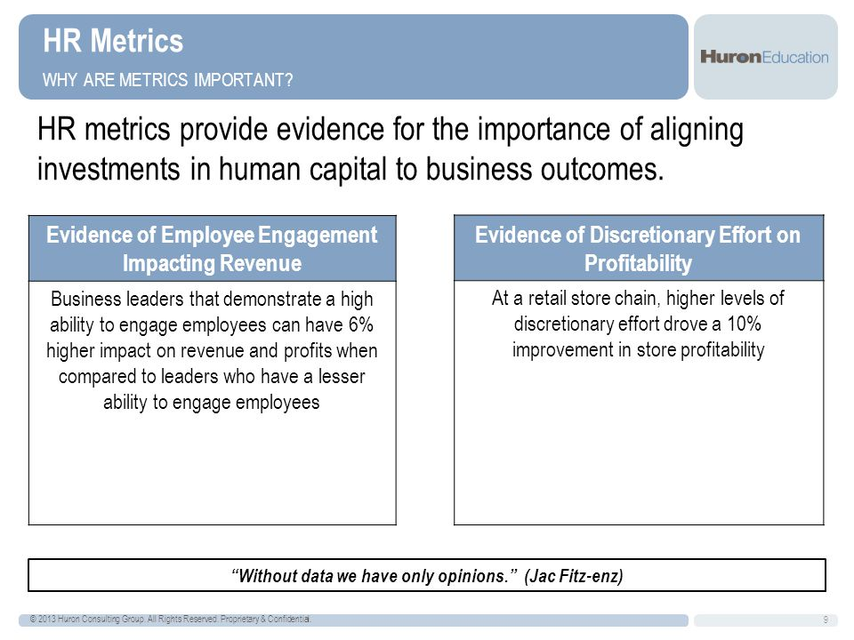 Accountability & Measurement Turnover Headcount Employment costs per student Employment costs per grant Employment costs per revenue Employment costs relative to budget Workforce health and wellness Workforce competency as per performance management process Workforce total rewards position to market Etc.