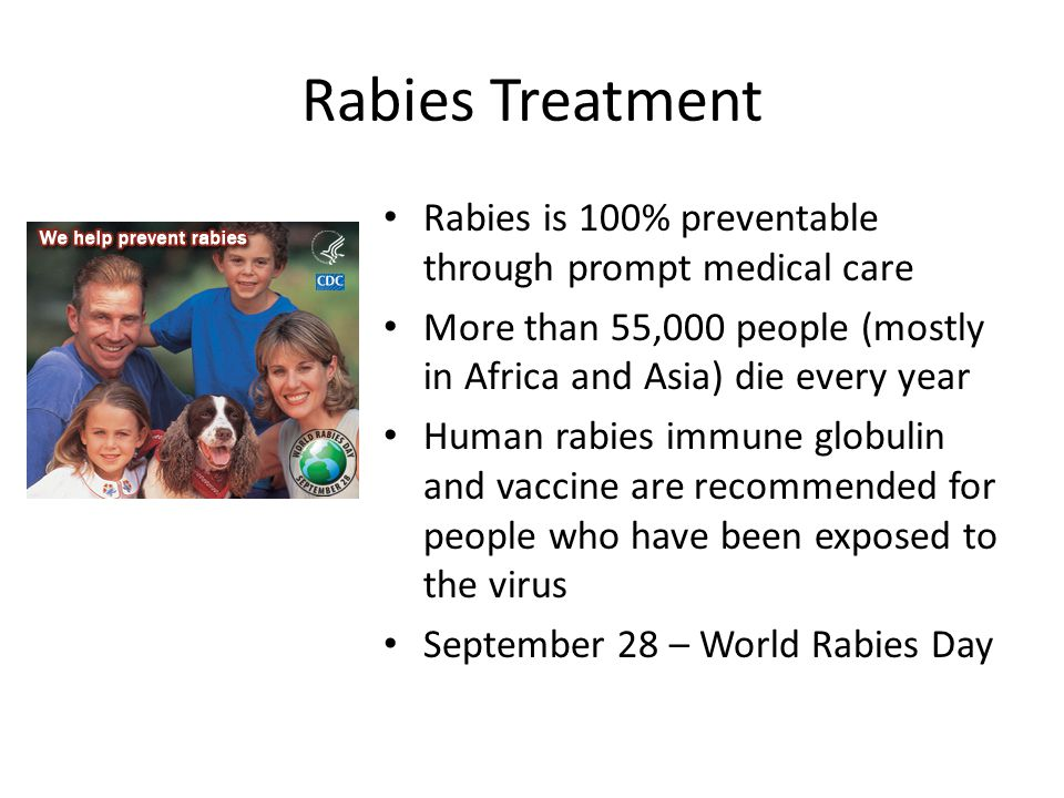 Rabies Treatment Rabies is 100% preventable through prompt medical care More than 55,000 people (mostly in Africa and Asia) die every year Human rabies immune globulin and vaccine are recommended for people who have been exposed to the virus September 28 – World Rabies Day