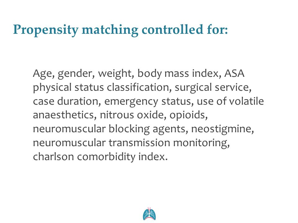 Propensity matching controlled for: Age, gender, weight, body mass index, ASA physical status classification, surgical service, case duration, emergen
