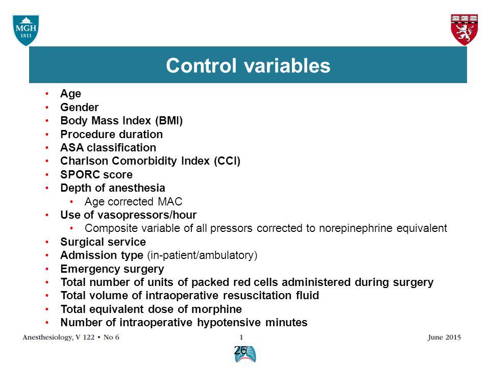 26 Age Gender Body Mass Index (BMI) Procedure duration ASA classification Charlson Comorbidity Index (CCI) SPORC score Depth of anesthesia Age correct