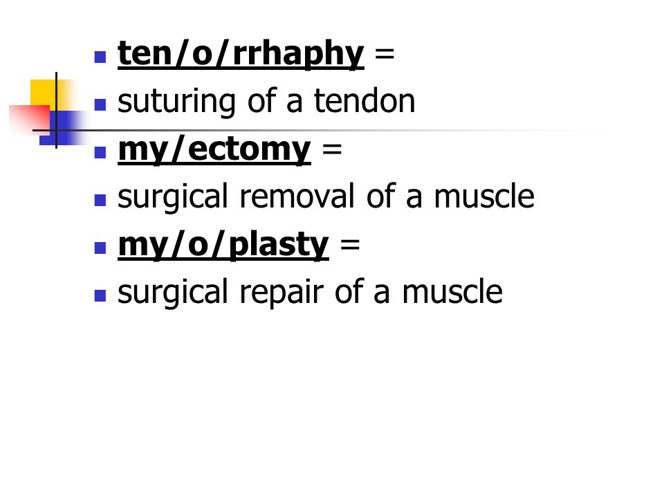ten/o/rrhaphy = suturing of a tendon my/ectomy = surgical removal of a muscle my/o/plasty = surgical repair of a muscle