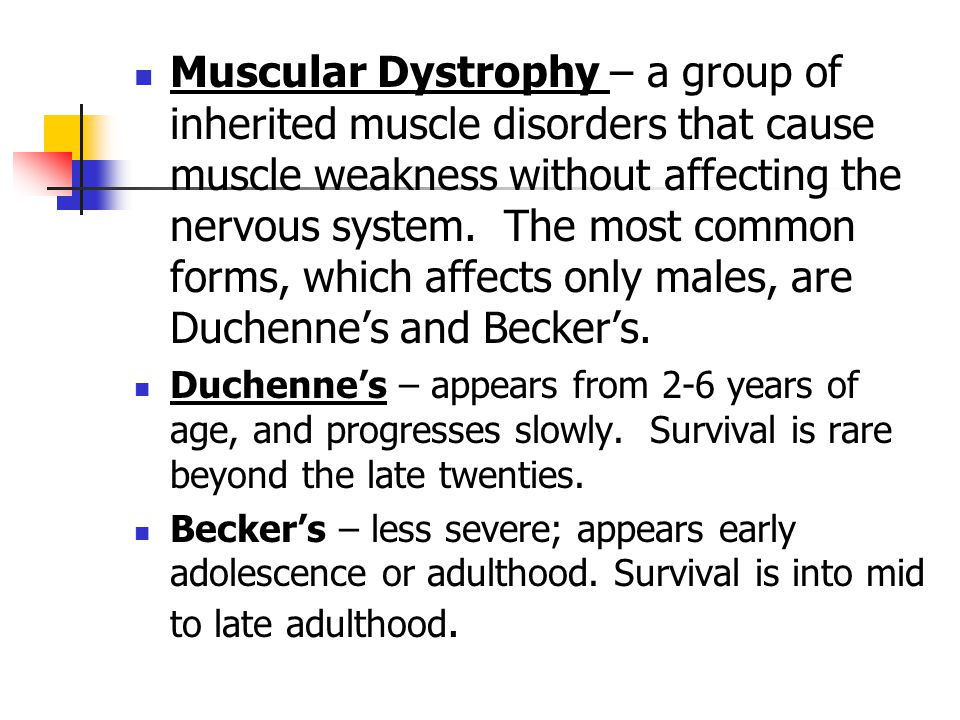 Muscular Dystrophy – a group of inherited muscle disorders that cause muscle weakness without affecting the nervous system. The most common forms, whi