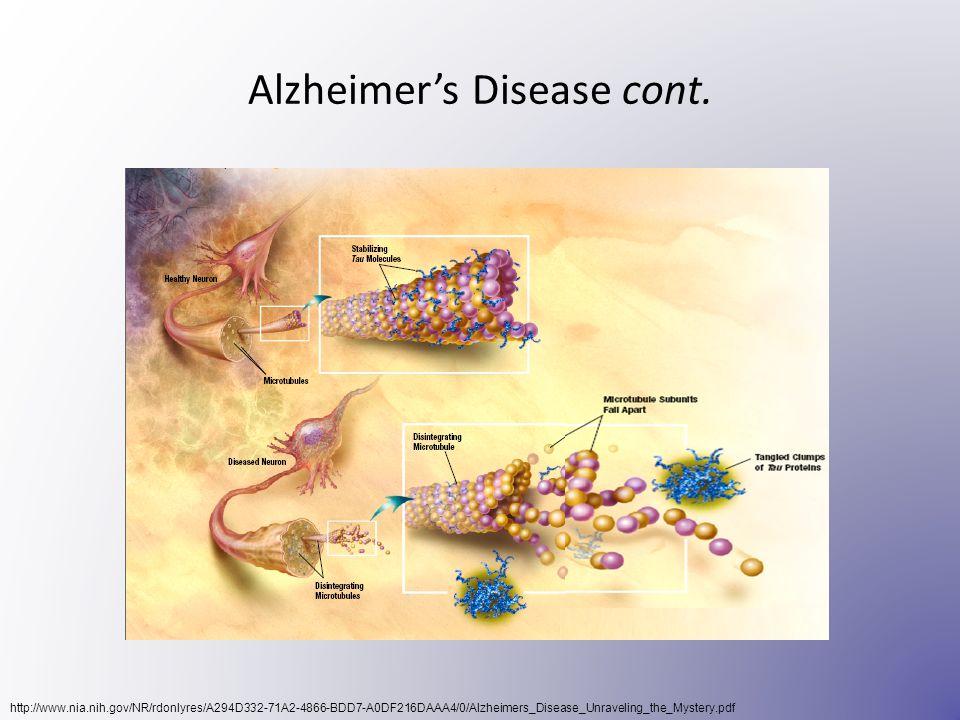 Alzheimer's Disease cont. http://www.nia.nih.gov/NR/rdonlyres/A294D332-71A2-4866-BDD7-A0DF216DAAA4/0/Alzheimers_Disease_Unraveling_the_Mystery.pdf