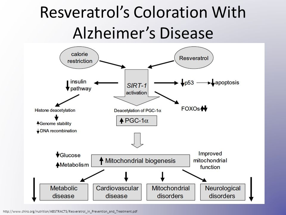 Resveratrol's Coloration With Alzheimer's Disease http://www.chiro.org/nutrition/ABSTRACTS/Resveratrol_in_Prevention_and_Treatment.pdf