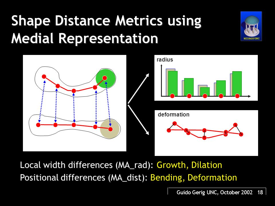 Guido Gerig UNC, October 2002 18 Shape Distance Metrics using Medial Representation Local width differences (MA_rad): Local width differences (MA_rad)
