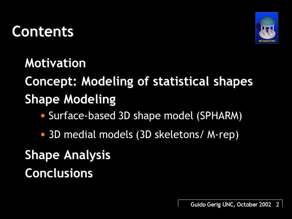 Guido Gerig UNC, October 2002 2 Contents Motivation Concept: Modeling of statistical shapes Shape Modeling Surface-based 3D shape model (SPHARM) 3D medial models (3D skeletons/ M-rep) Shape Analysis Conclusions