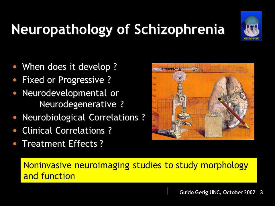 Guido Gerig UNC, October 2002 4 Natural History of Schizophrenia Age (Years) Good Function/ Psycho- pathology Poor 15203040506070 Premorbid ProdromalProgressive Chronic/Residual Gestation/ Birth