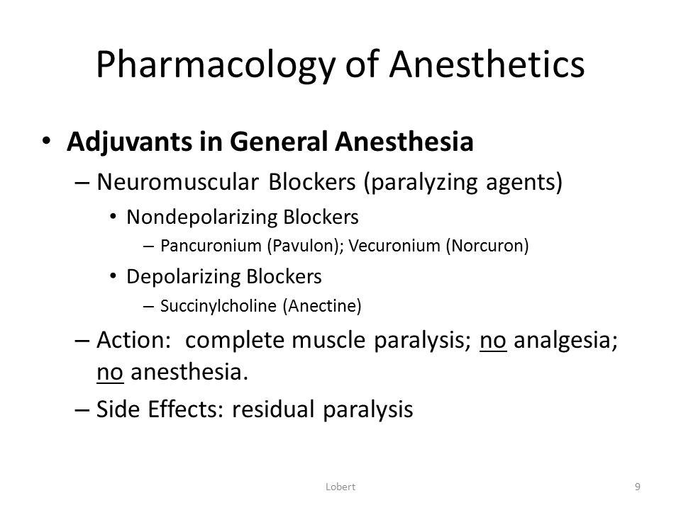Pharmacology of Anesthetics Adjuvants in General Anesthesia – Neuromuscular Blockers (paralyzing agents) Nondepolarizing Blockers – Pancuronium (Pavul