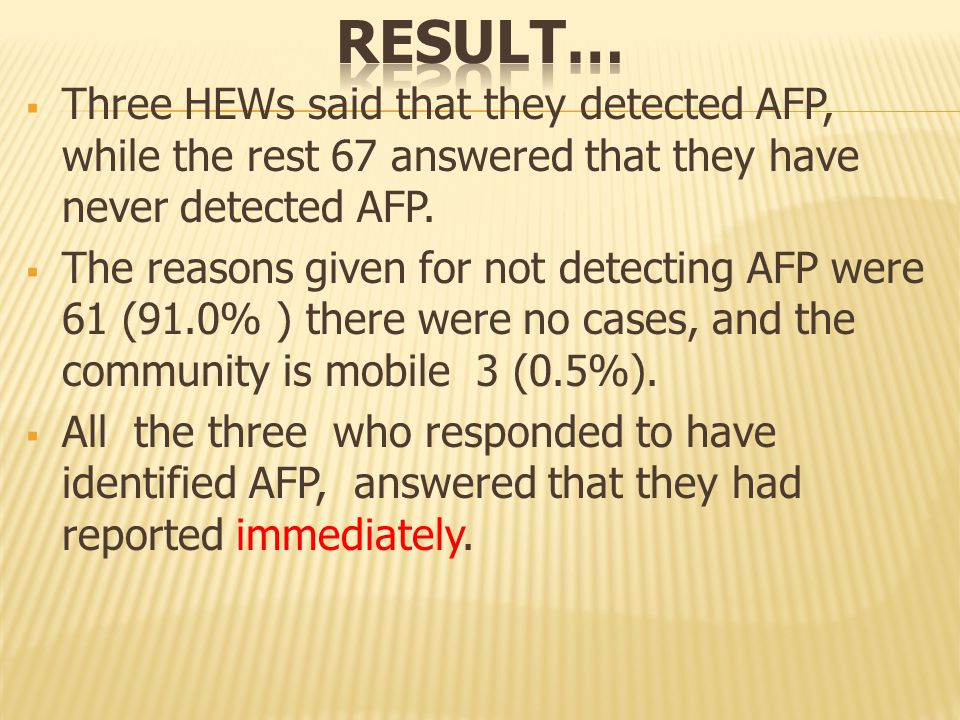 Three HEWs said that they detected AFP, while the rest 67 answered that they have never detected AFP.