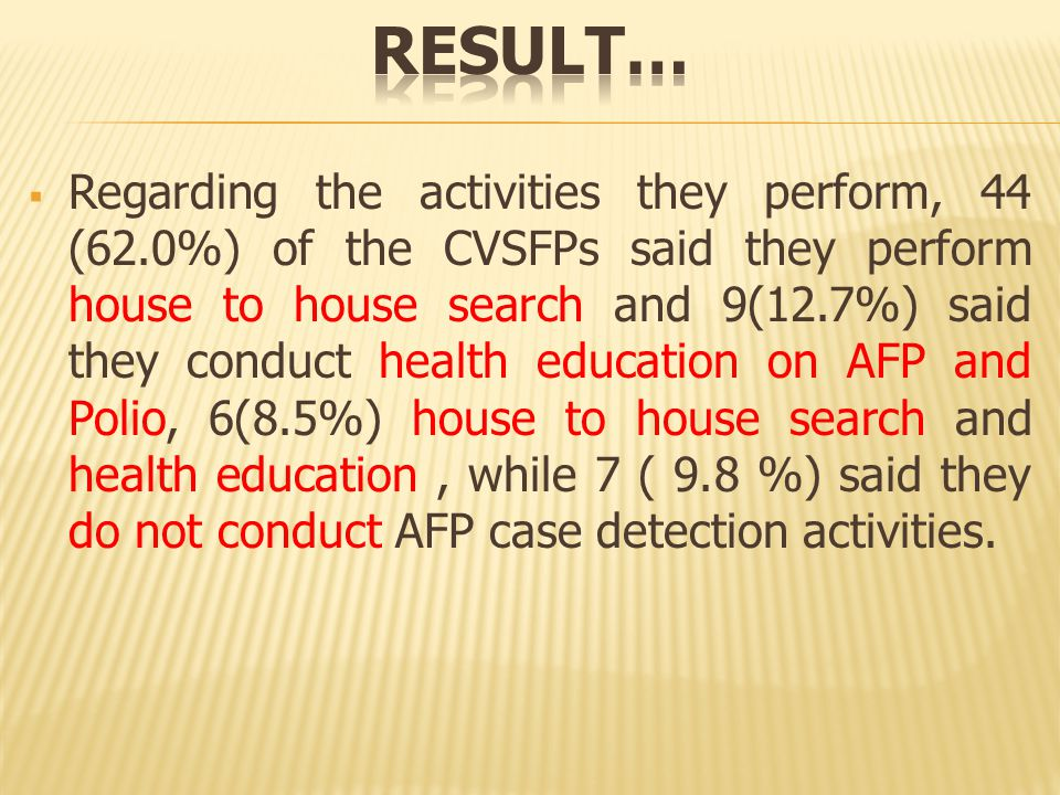  Regarding the activities they perform, 44 (62.0%) of the CVSFPs said they perform house to house search and 9(12.7%) said they conduct health education on AFP and Polio, 6(8.5%) house to house search and health education, while 7 ( 9.8 %) said they do not conduct AFP case detection activities.