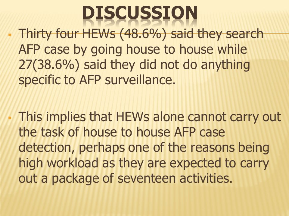  Thirty four HEWs (48.6%) said they search AFP case by going house to house while 27(38.6%) said they did not do anything specific to AFP surveillance.