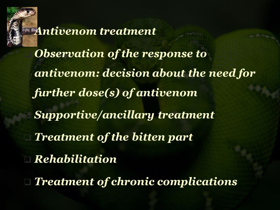  Antivenom treatment  Observation of the response to antivenom: decision about the need for further dose(s) of antivenom  Supportive/ancillary trea