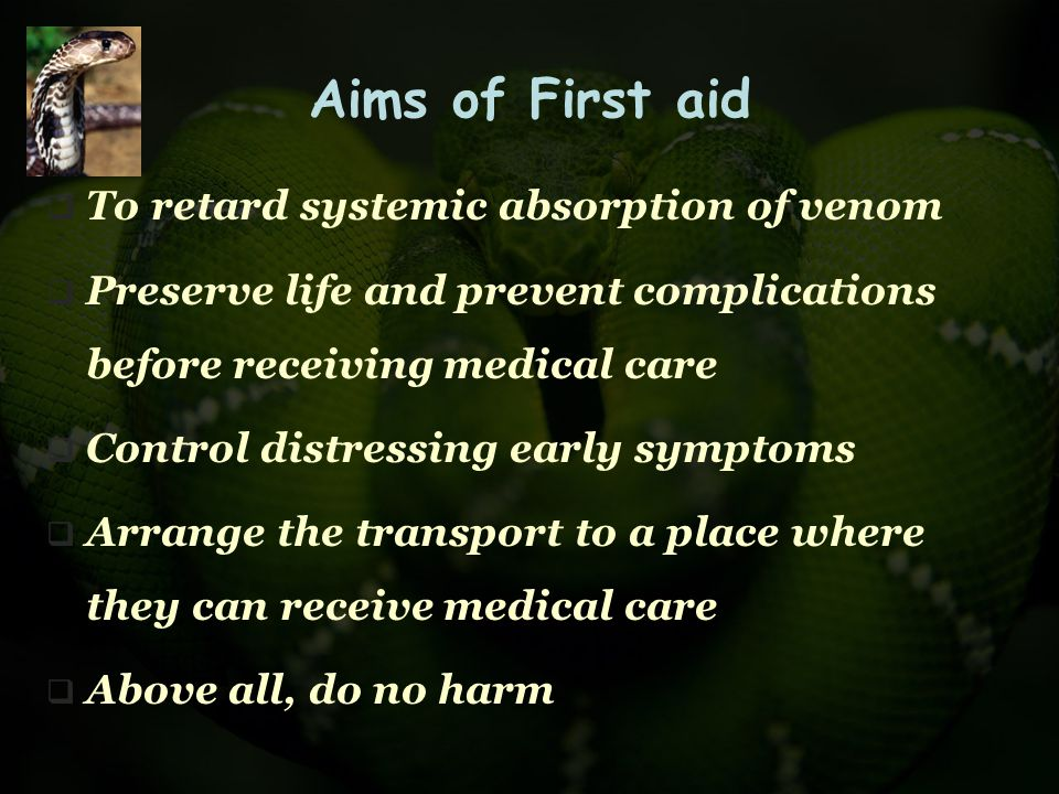 Aims of First aid  To retard systemic absorption of venom  Preserve life and prevent complications before receiving medical care  Control distressi