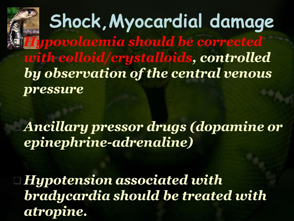 Shock,Myocardial damage  Hypovolaemia should be corrected with colloid/crystalloids, controlled by observation of the central venous pressure  Ancil