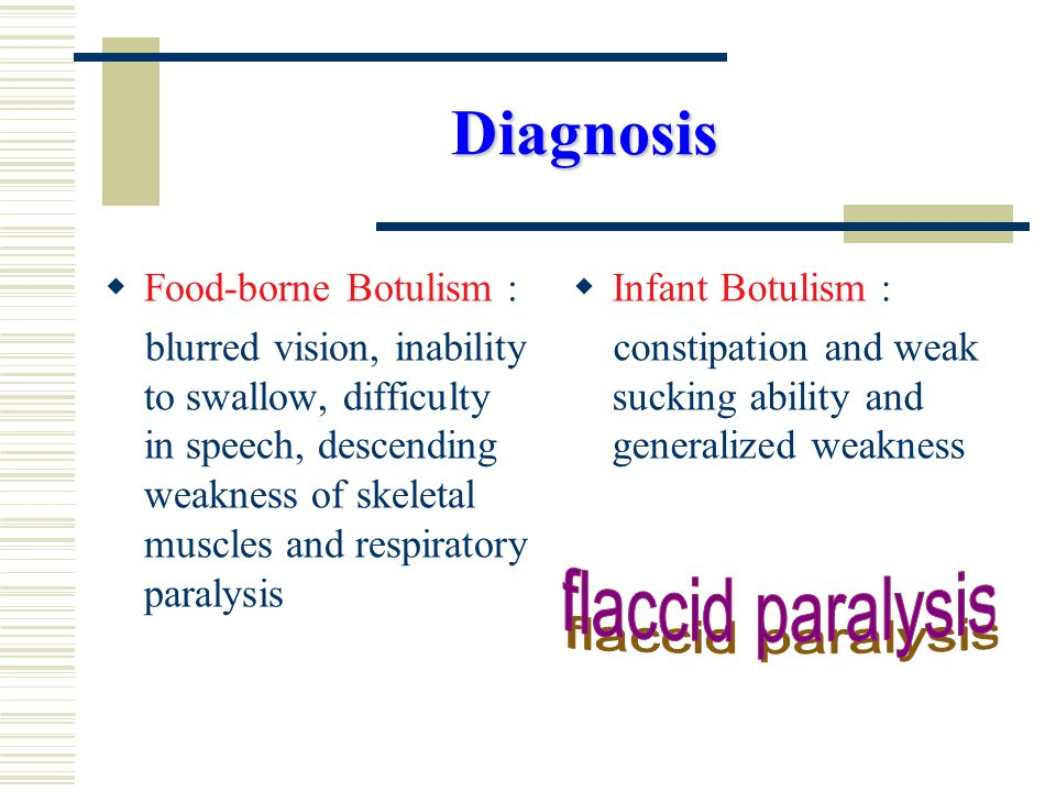 Diagnosis  Food-borne Botulism : blurred vision, inability to swallow, difficulty in speech, descending weakness of skeletal muscles and respiratory paralysis  Infant Botulism : constipation and weak sucking ability and generalized weakness