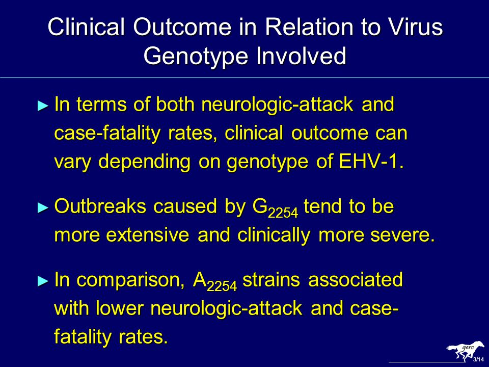 Clinical Outcome in Relation to Virus Genotype Involved ► In terms of both neurologic-attack and case-fatality rates, clinical outcome can vary depend