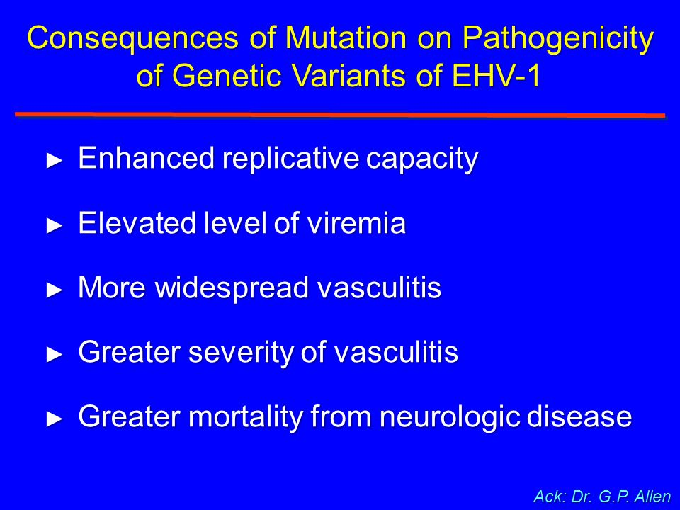 Consequences of Mutation on Pathogenicity of Genetic Variants of EHV-1 ► Enhanced replicative capacity ► Elevated level of viremia ► More widespread v
