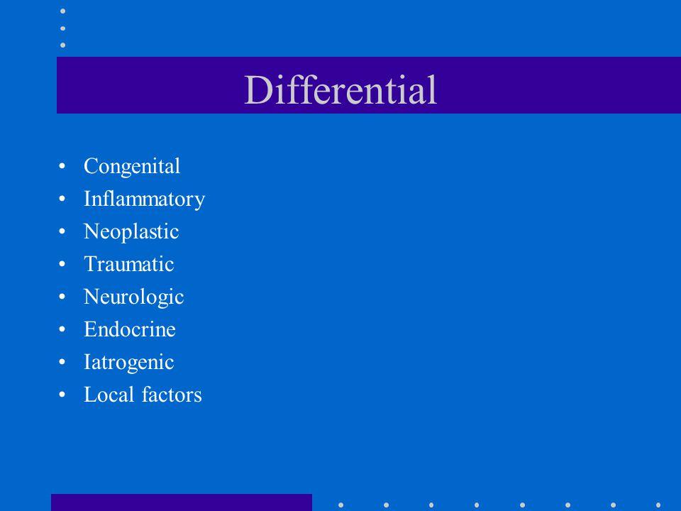 Differential Congenital Inflammatory Neoplastic Traumatic Neurologic Endocrine Iatrogenic Local factors